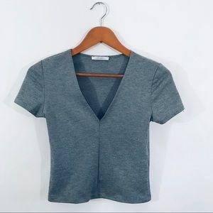 ZARA TRAFALUC Gray Stretch V-Neck Crop Top